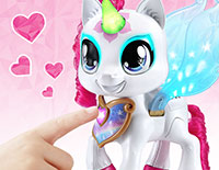 Color-Change Magic Press Mia's magical necklace to choose a color, then touch her horn, eyes and wings to decorate with that color. Each color changes her mood!